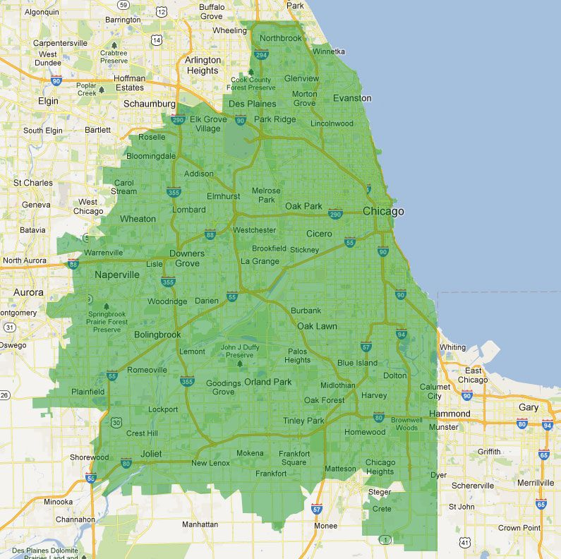 Suburban Chicago Map.Dumpster Rental Service Area Chicago And Suburbs