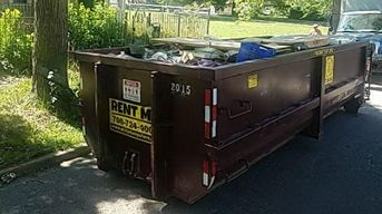 Full dumpster after home improvement project in chicago