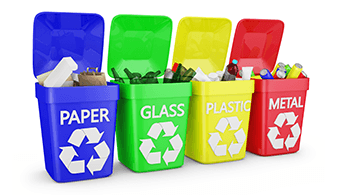 Recycling containers for paper, glass, plastic and metal waste