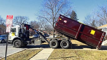 Residential dumpster delivery for home cleaning project