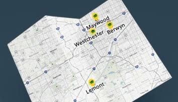 Dumpster rental map with Maywood, Lemont, Berwyn and Westchester cities